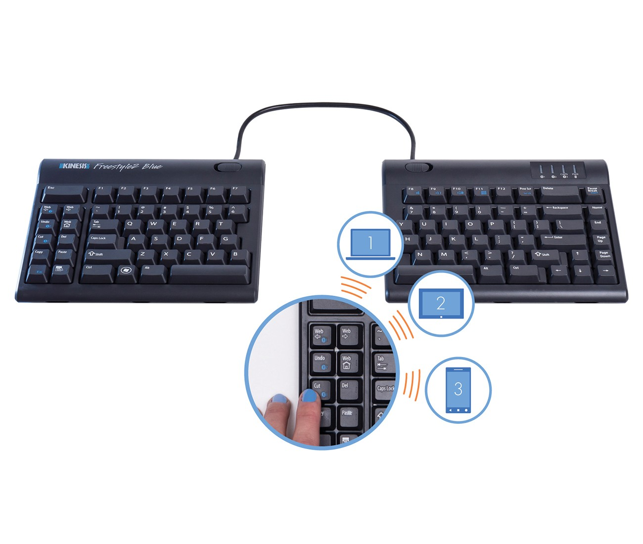 Computer input devices has introduced freestyle a range - Kinesis Freestyle 2 Multichannel Bluetooth Connection To Multiple Devices 1